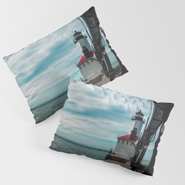 Michigan City East Pierhead Lighthouse and Catwalk Lake Michigan Light Station Pillow Sham