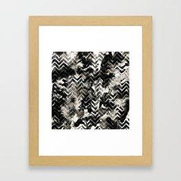 Black & White Chevron Ink Spill Framed Art Print