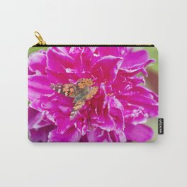 Painted Lady Butterfly on Blooming Peony Carry-All Pouch