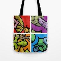 lichtenstein Tote Bags featuring Lichtenstein Pop Martial Art Chelonians Set by Butcher Billy