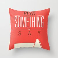 literary Throw Pillows featuring Literary Quote Poster — Title Poster by Evan Beltran