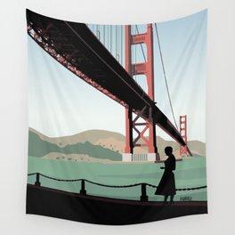 Vertigo Bridge Illustration Wall Tapestry
