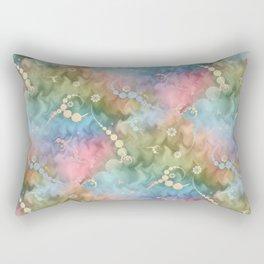Satin Rainbow Pastel Floral Rectangular Pillow