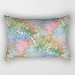 Satin Rainbow Pastel Floral Rectangular Pillow