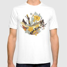 Chipmunk & Morning Glory White Mens Fitted Tee MEDIUM