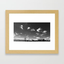 Black and white skyline Framed Art Print
