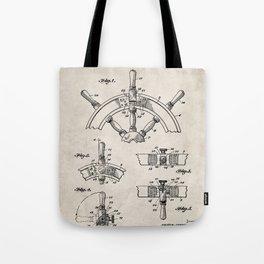 Ships Wheel Patent - Boat Wheel Art - Antique Tote Bag