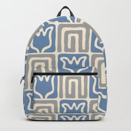 Mid Century Flower Garden Pattern 381 Blue and Grey Backpack