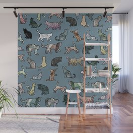 Cats Shapes Marble - Teal Steel Blue Wall Mural