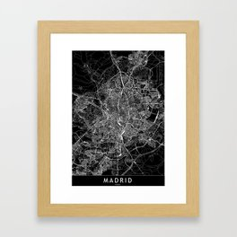 Madrid Black Map Framed Art Print