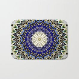 Bohemian Bright Blue and Gold Mandala Badematte