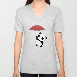 Kawaii Cute Panda With Umbrella Unisex V-Neck