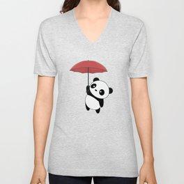 Kawaii Cute Panda With Umbrella Unisex V-Neck