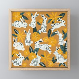 Bunnies & Blooms - Ochre & Teal Palette Framed Mini Art Print
