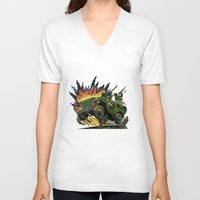 jeep V-neck T-shirts featuring Battle Squadron Jeep by Copyright free comic fans