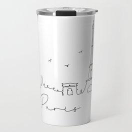 Pen line silhouette Paris Travel Mug