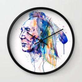 Sioux Warrior Watercolor Wall Clock