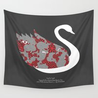swan Wall Tapestries featuring swan by BUBUBABA
