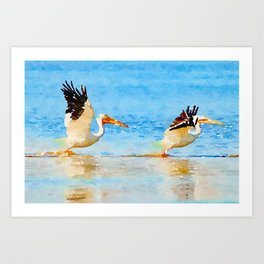 Pelicans Taking Off Art Print