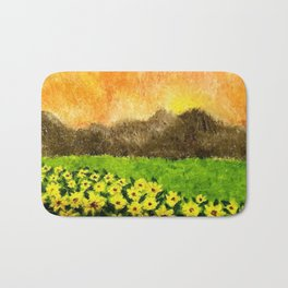 Sunflowers and Volcanoes Colorful Oil Painting Bath Mat