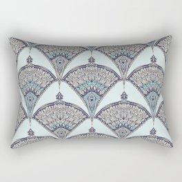 Deco Doodle in Aqua, Cream & Navy Blue Rectangular Pillow