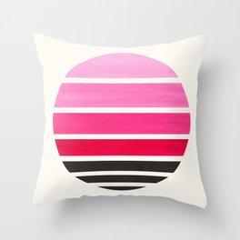 Magenta Mid Century Modern Minimalist Circle Round Photo Staggered Sunset Geometric Stripe Design Throw Pillow