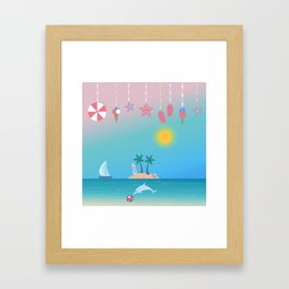 Cute Summer background with hanging icons. Framed Art Print
