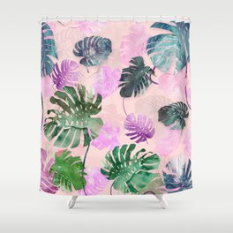 Tropical Leves on Pink Shower Curtain