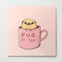 Pug of Tea Metal Print