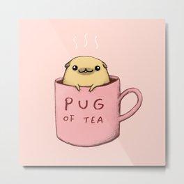 Pug of Tea Metal Print
