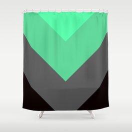 Mint Green Gray Chevron Stripes Shower Curtain