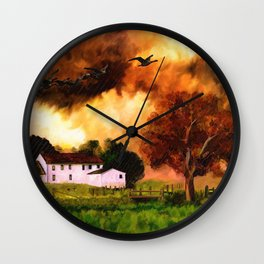 Watercolor Farm Sunset (Color) Wall Clock