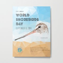 World Shorebird Day Poster-Hudsonian Godwit 2 Metal Print