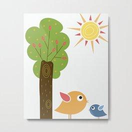 Birds by a Tree Metal Print