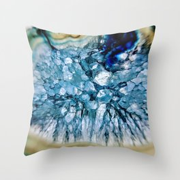 Blue Crystalline Throw Pillow