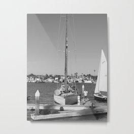 Sail Boat at The Newport Beach Harbor Metal Print