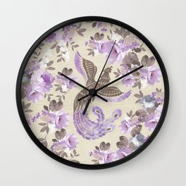 Phoenix Bird with watercolor flowers Wall Clock