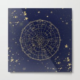 Metallic Gold Vintage Star Map 2 Metal Print