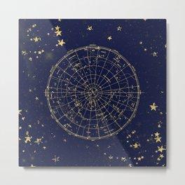 Metallic Gold Vintage Star Map 2 Metal Print