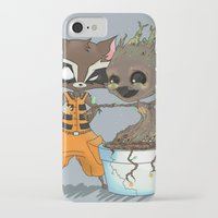 rocket raccoon iPhone & iPod Cases featuring Rocket Raccoon & Baby Groot by Whimsette
