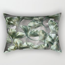 Ginko Leaves on Gray Abstract Rectangular Pillow