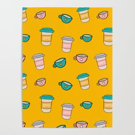 Happy coffee cups and mugs in yellow background Poster