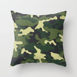Army Green Camouflage Camo Pattern Throw Pillow