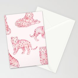 Pink Tiger Cheetah Leopard Panther Kawaii Watercolor Cute Stationery Cards