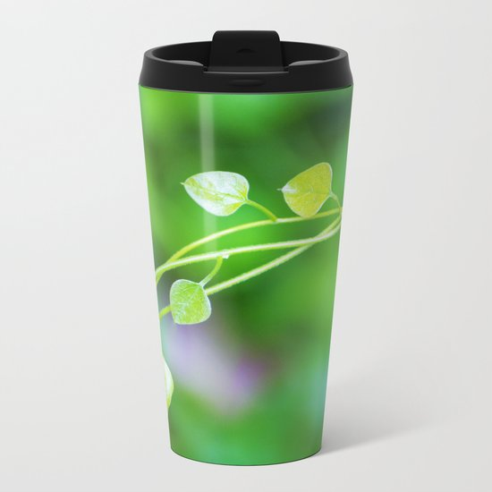 Macro Ivy with Little Green Leaves Metal Travel Mug