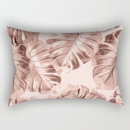 Rose Gold Monstera Leaves on Blush Pink 2 Rectangular Pillow