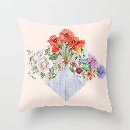 Floral Blocks Throw Pillow