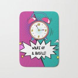 Motivational Pink & Teal Alarm Clock Quote Wake Up & Hustle Bath Mat