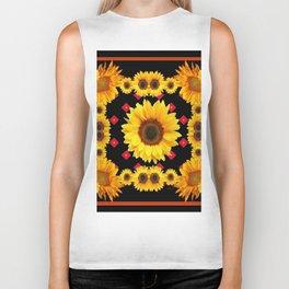 Black Western Blanket Style Sunflowers Biker Tank