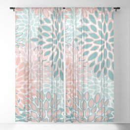Festive, Modern, Floral Prints, Teal and Coral Sheer Curtain